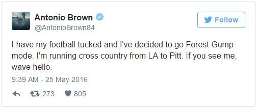 Antonio Brown Tweets He Is Going Forrest Gump Mode For