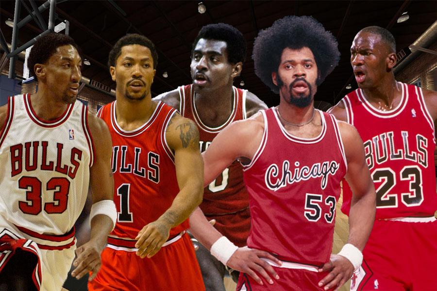 fddd2176ebb3 Chicago Bulls  Derrick Rose-Michael Jordan-Scottie Pippen-Bob Love-Artis  Gilmore