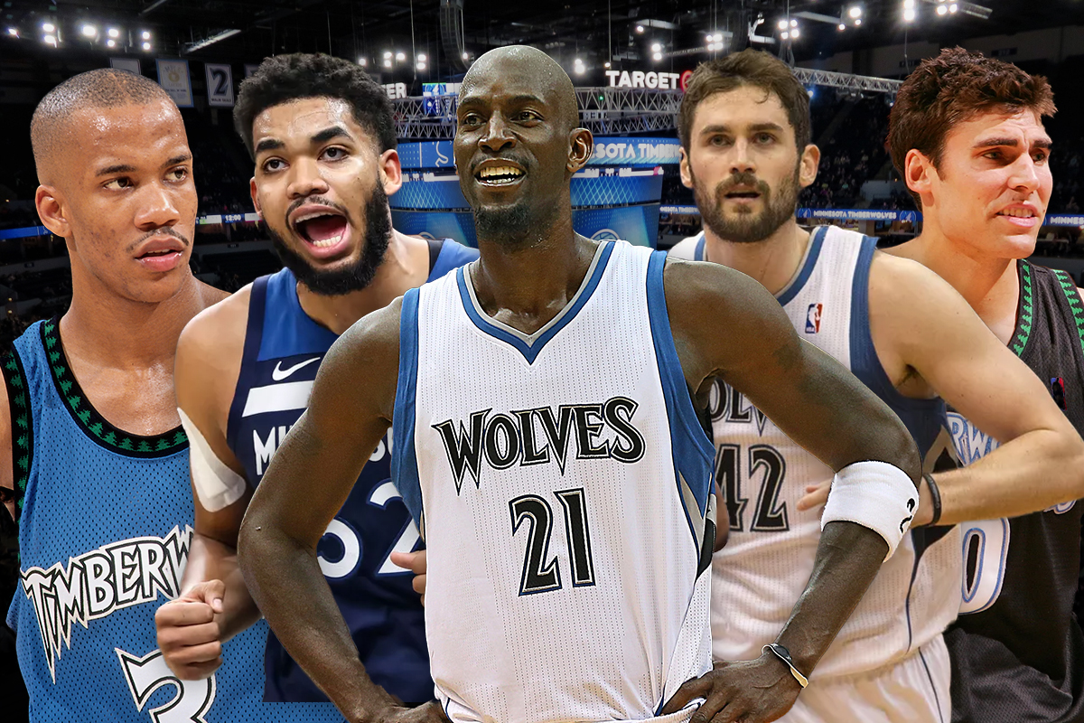 17. Minnesota Timberwolves: Stephon Marbury-Wally Sczerbiak-Kevin Love-Kevin Garnett-Karl-Anthony-Towns
