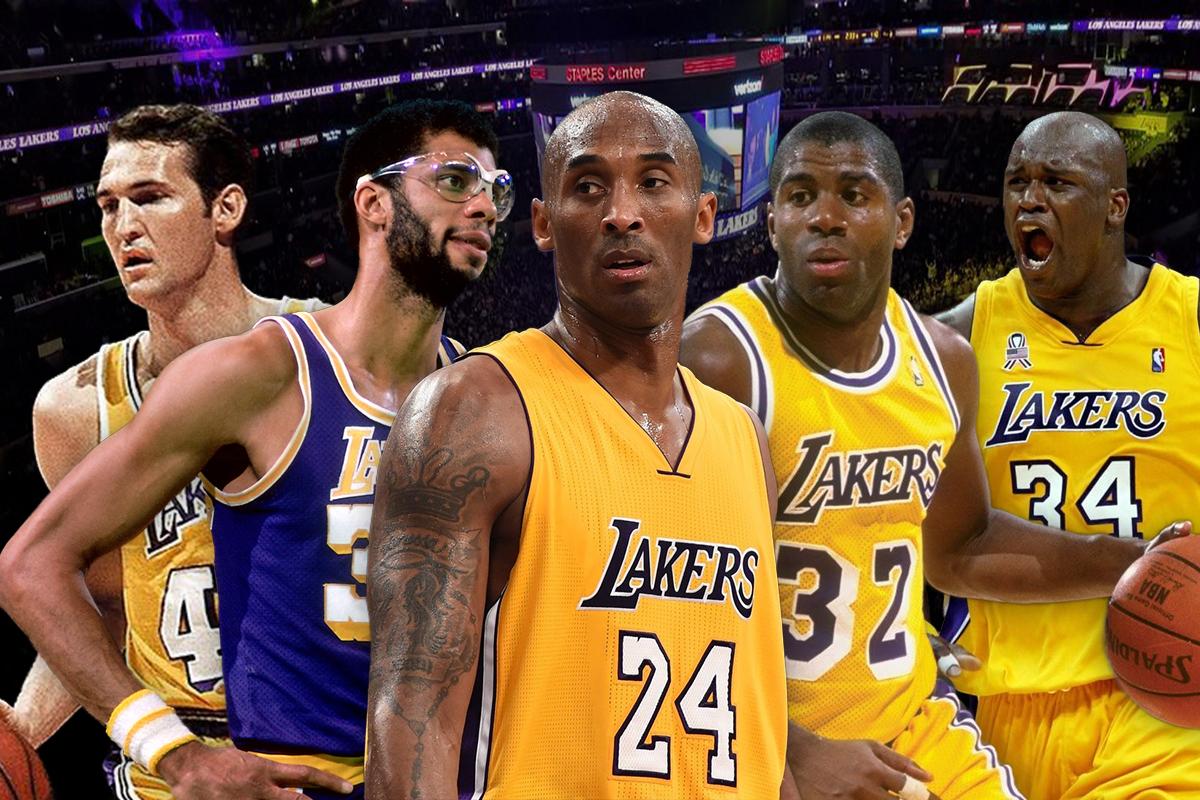 1. Los Angeles Lakers: Magic Johnson-Jerry West-Kobe Bryant-Kareem Abdul-Jabbar-Shaquille O'Neal
