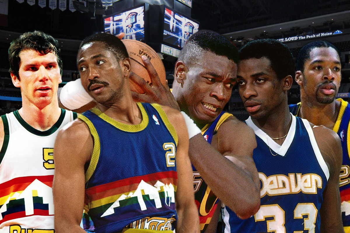 22. Denver Nuggets: Fat Lever-David Thompson-Kiki Vandeweghe-Alex English-Dikembe Mutombo